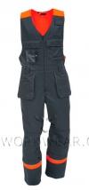 Полукомбинезон рабочий с трикотажной спинкой и навесными карманами